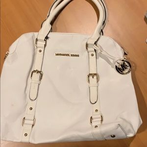 Michael Kors white leather bag with cream interior